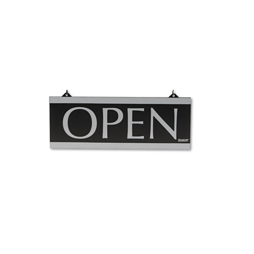 Century Series Reversible Open/Closed Sign, w/Suction Mount, 13 x 5, Black | by Plexsupply