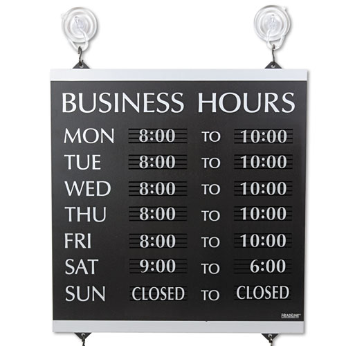 Century Series Business Hours Sign, Heavy-Duty Plastic, 13 x 14, Black | by Plexsupply