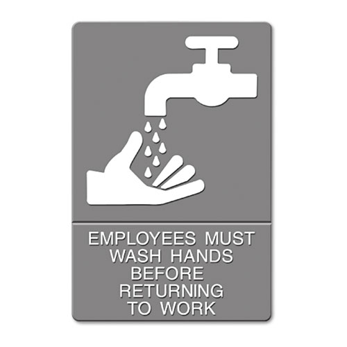ADA Sign, EMPLOYEES MUST WASH HANDS... Tactile Symbol/Braille, 6 x 9, Gray | by Plexsupply