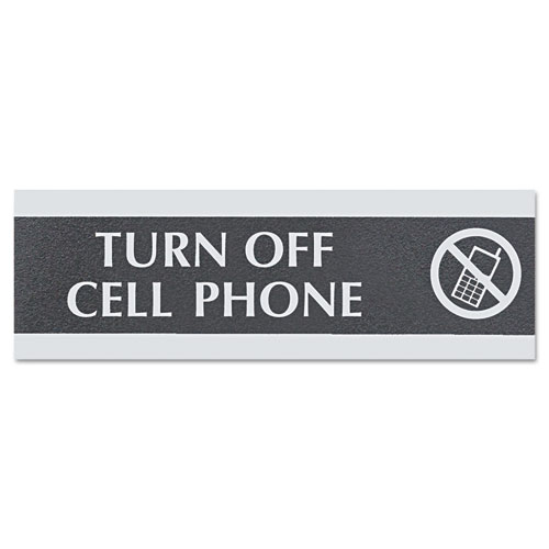 Century Series Office Sign,TURN OFF CELL PHONE, 9 x 3 | by Plexsupply