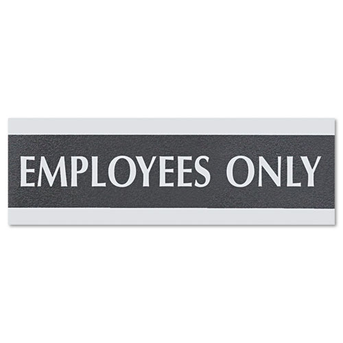 Century Series Office Sign, EMPLOYEES ONLY, 9 x 3, Black/Silver | by Plexsupply
