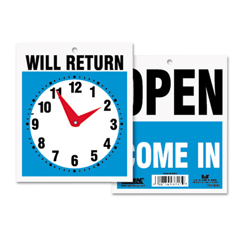 Headline® Sign Double-Sided Open/Will Return Sign w/Clock Hands, Plastic, 7 1/2 x 9