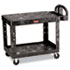 <strong>Rubbermaid® Commercial</strong><br />Flat Shelf Utility Cart, Two-Shelf, 25.25w x 44d x 38.13h, Black