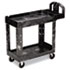<strong>Rubbermaid® Commercial</strong><br />Heavy-Duty Utility Cart, Two-Shelf, 17.13w x 38.5d x 38.88h, Black