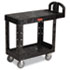 <strong>Rubbermaid® Commercial</strong><br />Flat Shelf Utility Cart, Two-Shelf, 19.19w x 37.88d x 33.33h, Black