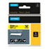 """<strong>DYMO®</strong><br />Rhino Flexible Nylon Industrial Label Tape, 0.5"""" x 11.5 ft, Yellow/Black Print"""
