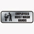 <strong>COSCO</strong><br />Brushed Metal Office Sign, Employees Must Wash Hands, 9 x 3, Silver