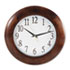 "<strong>Universal®</strong><br />Round Wood Wall Clock, 12.75"" Overall Diameter, Cherry Case, 1 AA (sold separately)"