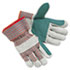 <strong>MCR&#8482; Safety</strong><br />Men's Economy Leather Palm Gloves, White/Red, Large, 12 Pairs