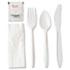<strong>GEN</strong><br />Wrapped Cutlery Kit, Fork/Knife/Spoon/Napkin/Salt/Pepper, Polypropylene, White, 250/Carton