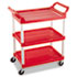 <strong>Rubbermaid® Commercial</strong><br />Service Cart, 200-lb Capacity, Three-Shelf, 18.63w x 33.63d x 37.75h, Red
