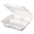 <strong>Genpak®</strong><br />Snap It Foam Container, 3-Comp, 9 1/4 x 9 1/4 x 3, White, 100/Bag, 2 Bags/Carton