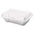 <strong>Genpak®</strong><br />Foam Carryout Containers, 9 1/5 x 6 1/2 x 3, White, 100/Bag, 2 Bags/Carton