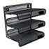 "<strong>Universal®</strong><br />Deluxe Mesh Three-Tier Desk Shelf, 3 Sections, Letter Size Files, 13.25"" x 9.25"" x 12.38"", Black"