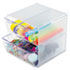 <strong>deflecto®</strong><br />Stackable Cube Organizer, 4 Drawers, 6 x 7 1/8 x 6, Clear