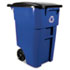 <strong>Rubbermaid® Commercial</strong><br />Brute Recycling Rollout Container, Square, 50 gal, Blue