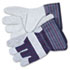 <strong>MCR&#8482; Safety</strong><br />Split Leather Palm Gloves, Large, Gray, Pair