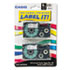 """<strong>Casio®</strong><br />Tape Cassettes for KL Label Makers, 0.37"""" x 26 ft, Black on Clear, 2/Pack"""