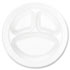 """<strong>Dart®</strong><br />Concorde Foam Plate, Compartmented, 10 1/4"""" dia, WE, 125/Pack, 4 Packs/Carton"""
