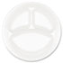 """<strong>Dart®</strong><br />Concorde Foam Plate, 3-Comp, 9"""" dia, White, 125/Pack, 4 Packs/Carton"""