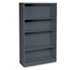 <strong>HON®</strong><br />Metal Bookcase, Four-Shelf, 34-1/2w x 12-5/8d x 59h, Charcoal