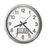 "<strong>Howard Miller®</strong><br />Chronicle Wall Clock with LCD Inset, 14"" Overall Diameter, Gray Case, 1 AA (sold separately)"