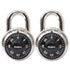 "<strong>Master Lock®</strong><br />Combination Lock, Stainless Steel, 1 7/8"" Wide, Black Dial, 2/Pack"