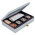 <strong>SteelMaster®</strong><br />Heavy-Duty Steel Low-Profile Cash Box w/6 Compartments, Key Lock, Gray