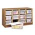 Modular Wood/Plastic 12 Bin Supplies Organizer, 34 x 13 x 19, Medium Oak/Clear
