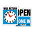 <strong>Headline® Sign</strong><br />Double-Sided Open/Will Return Sign w/Clock Hands, Plastic, 7 1/2 x 9