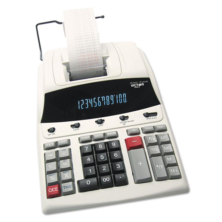 1230-4 Fluorescent Display Printing Calculator, Black/Red Print, 3 Lines/Sec