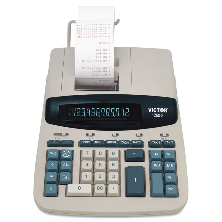 1260-3 Two-Color Heavy-Duty Printing Calculator, Black/Red Print, 4.6 Lines/Sec