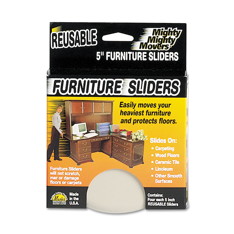 """Picture of Mighty Mighty Movers Reusable Furniture Sliders, Round, 5"""" Dia., Beige, 4/Pack"""