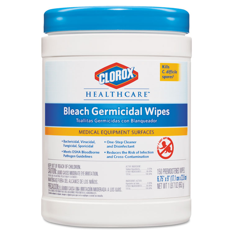 Picture of Bleach Germicidal Wipes, Clorox® Healthcare®, Equpiment and Surface Wipe, 6 x 5, Unscented, 150/Canister