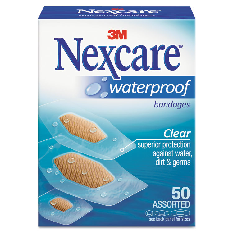 Picture of Waterproof, Clear Bandages, Assorted Sizes, 50/Box
