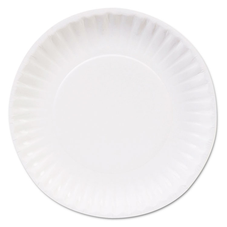 "Picture of CLAY COATED PAPER PLATES, 6"", WHITE, 100/PACK, 12 PACKS/CARTON"