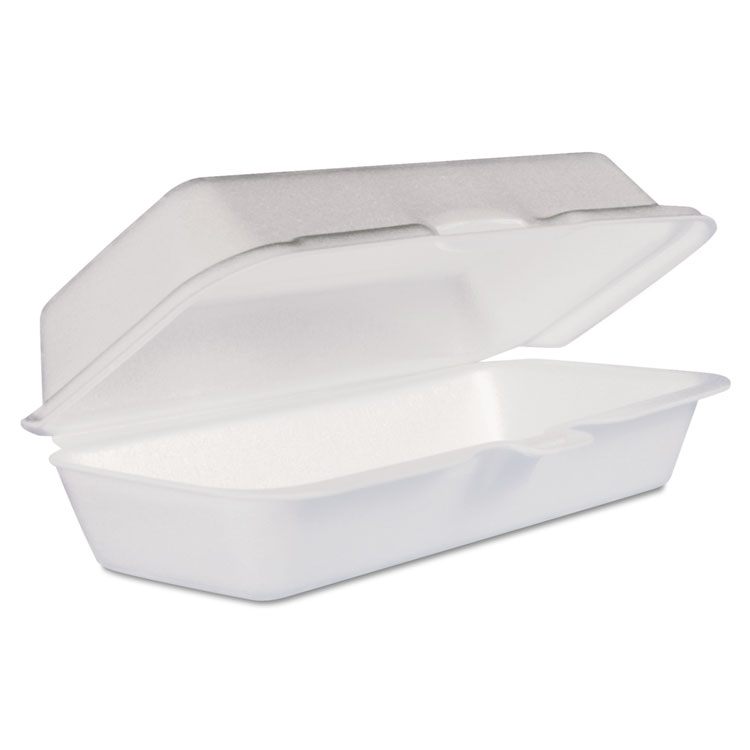Foam Hot Dog Container/Hinged Lid, 7-1/1 x3-4/5x2-3/10, White,125/Bag, 4 Bags/Ct