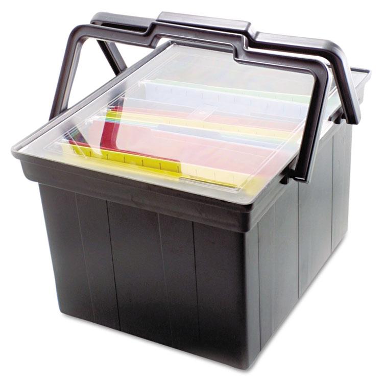 Picture of Companion Portable File Storage Box, Legal/Letter, Plastic, Black