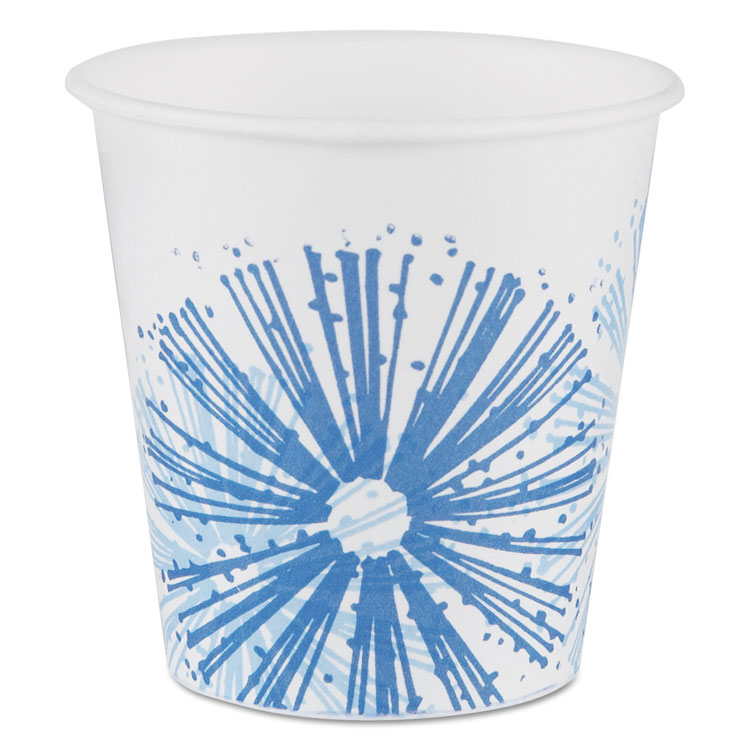 Picture of Alcohol-Resistant Treated Paper Cold Cups,3oz, Starlite/white-Blue,100/pk, 24/ct