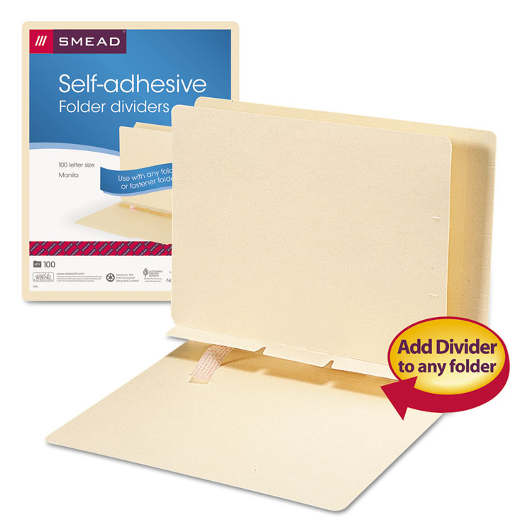 Manila Self-Adhesive Folder Dividers W/Prepunched Slits By