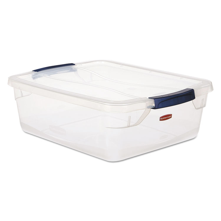 Picture of Clever Store Snap-Lid Container, 18 3/4 X 23 3/4 X 12 3/8, 71 Qt, Clear, 4/ct