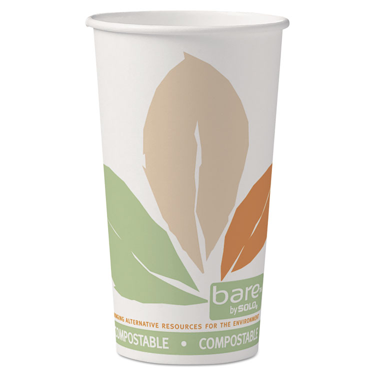 Picture of Bare By Solo Eco-Forward Pla Paper Hot Cups, 20oz,leaf Design,40/bag,15 Bags/ct