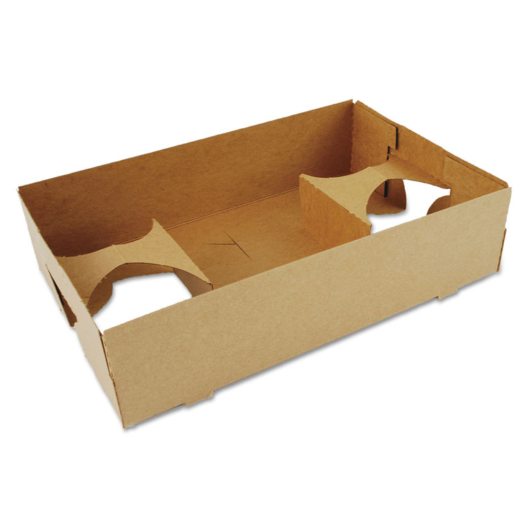 Picture of 4-Corner Pop-Up Food And Drink Tray, 4-Cup, 10x6.5x2.5, Brown, 250/carton