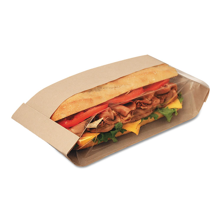 Picture of Dubl View Sandwich Bags, 2.55 mil, 10 3/4 x 3 1/2 x 2 1/4, Natural Brown, 500/CT