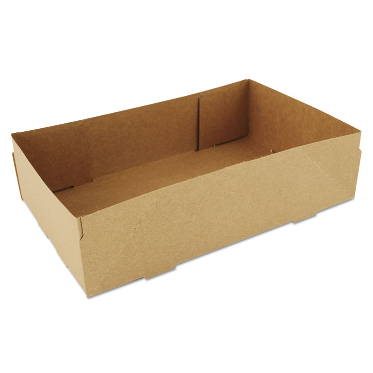 Picture of 4-Corner Pop-Up Food and Drink Tray, 8 5/8 x 5 1/2 x 2 1/4, Brown, 500/Carton