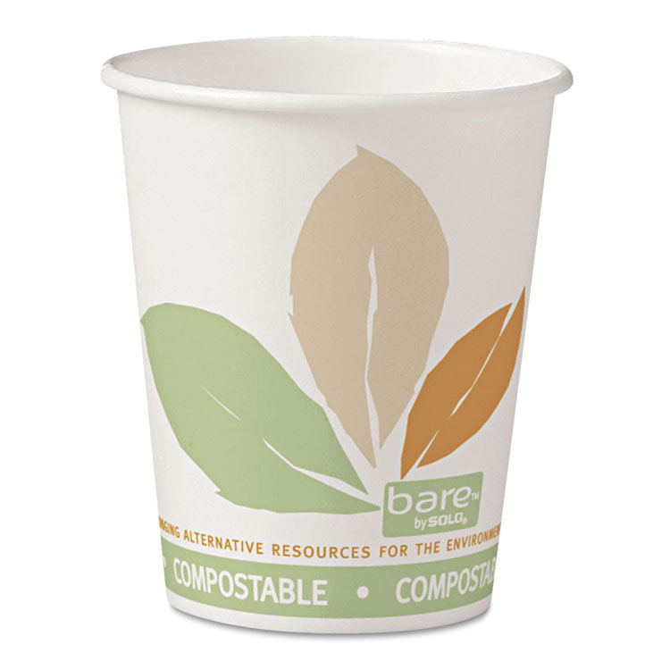 Picture of Bare By Solo Eco-Forward Pla Paper Hot Cups, 10oz, Leaf Design,50/bag,20 Bags/ct