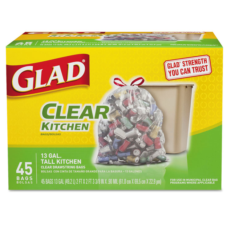 Picture of Glad 13 Gallon Tall Clear Recycling Kitchen Drawstring Trash Bags