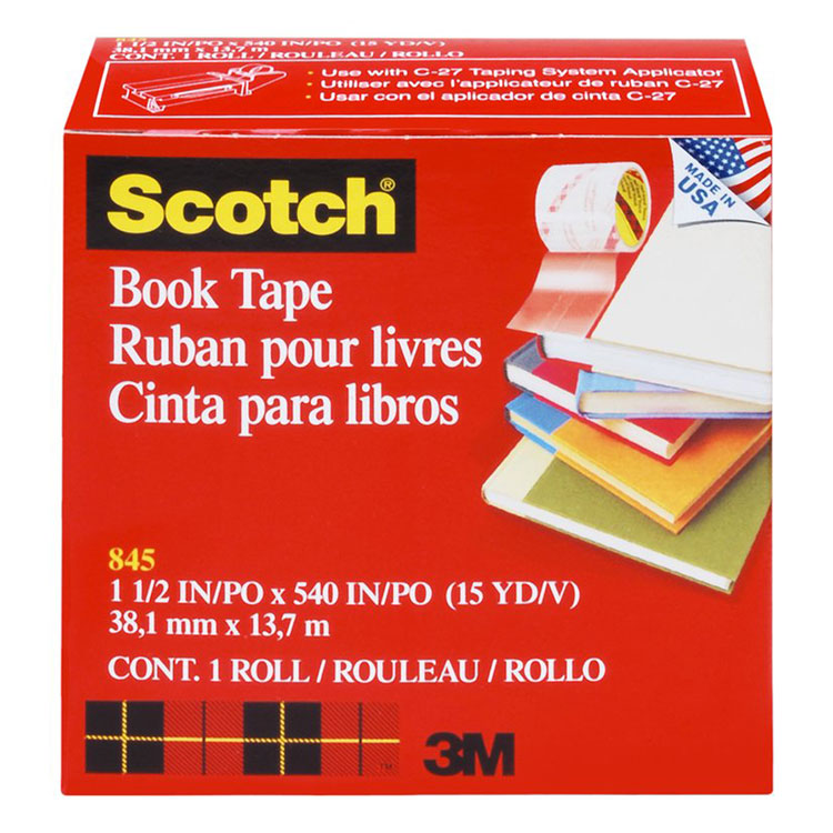 """Picture of Book Repair Tape, 1 1/2"""" x 15yds, 3"""" Core, Clear"""