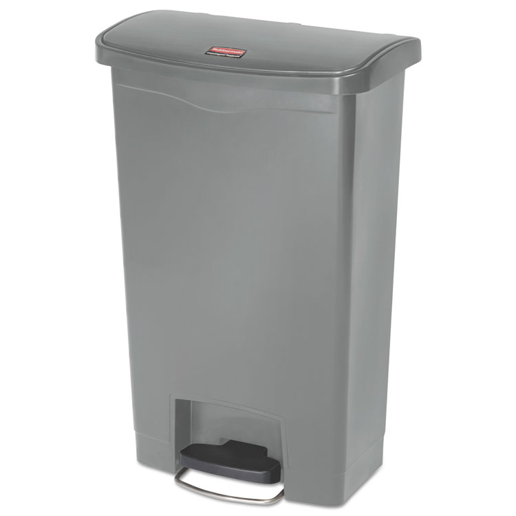 Picture of Slim Jim Resin Step-On Container, Front Step Style, 13 Gal, Gray