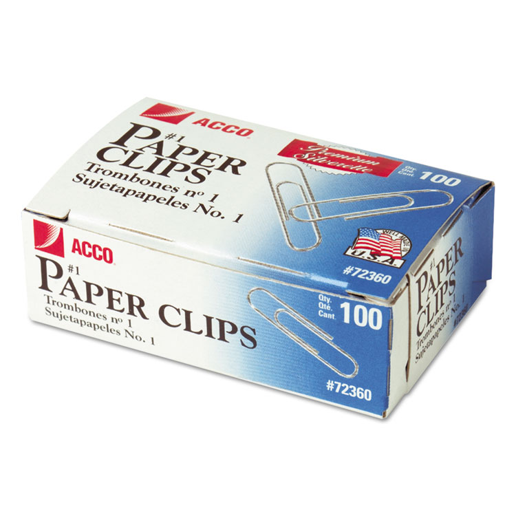 Picture of Premium Paper Clips, Smooth, #1, Silver, 100/Box, 10 Boxes/Pack